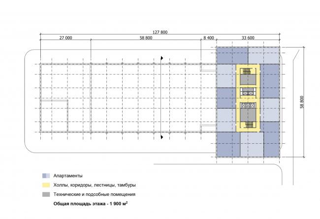 Многофункциональный комплекс «Технопарк «Холодильник». Схема плана типового этажа (14-17 эт.) © Архитектурная мастерская «ГРАН»