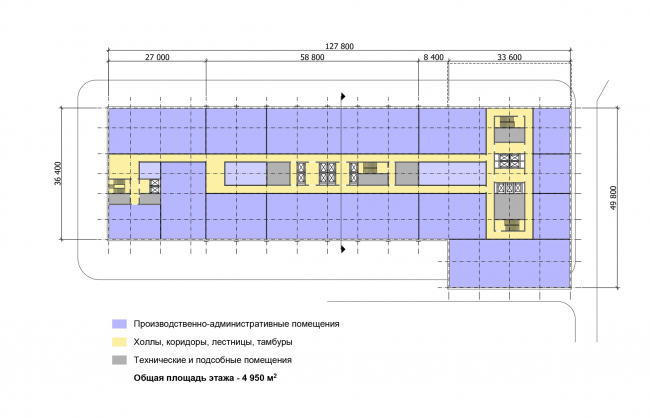 """Multifunctional complex """"Technology park """"Fridge"""". Scheme of the plan of the typical (10-13) floor © GRAN"""