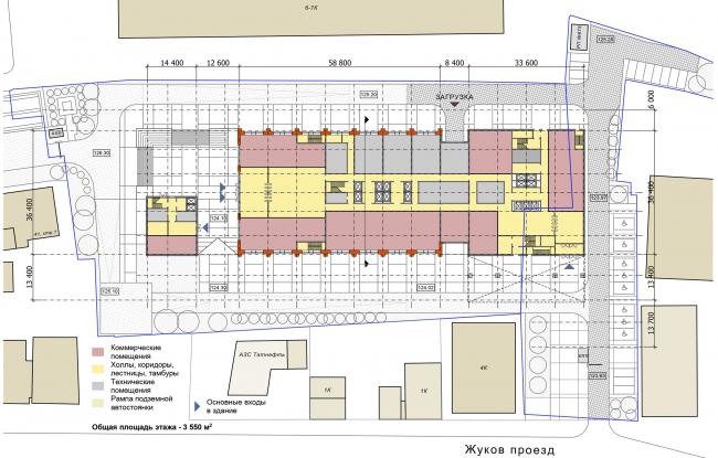 Многофункциональный комплекс «Технопарк «Холодильник». План 1 этажа © Архитектурная мастерская «ГРАН»