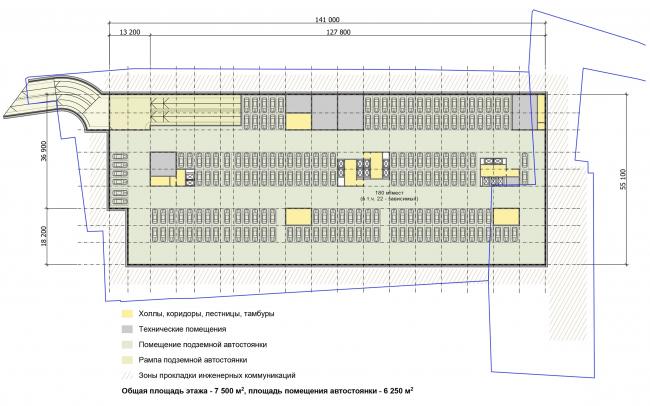 Многофункциональный комплекс «Технопарк «Холодильник». План -1 этажа © Архитектурная мастерская «ГРАН»