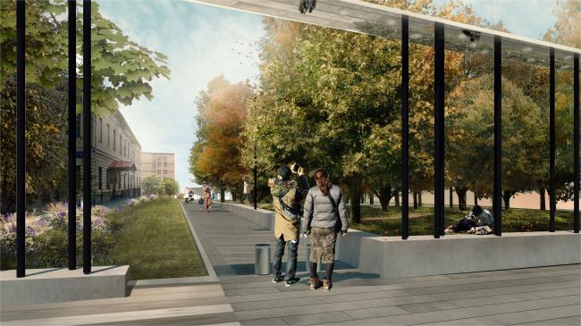 Новый вход в парк Горького со стороны Ленинского проспекта. Вид на больницу