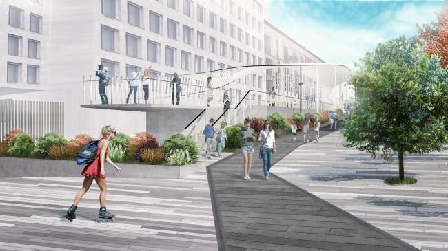 Новый вход в парк Горького со стороны Ленинского проспекта. Вид на смотровую площадку