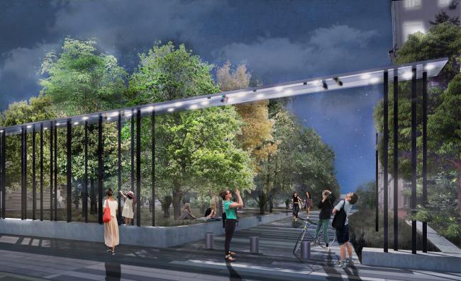 Новый вход в парк Горького со стороны Ленинского проспекта. Вид ночью на перголу