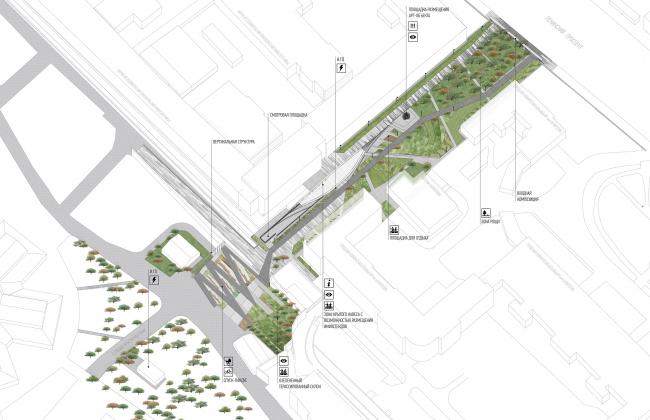 Новый вход в парк Горького со стороны Ленинского проспекта. Общая аксонометрия