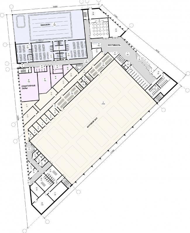 "Fitness and health centre in ""Laikovo"" housing complex. Plan of the 1st floor © Arhitekturium"