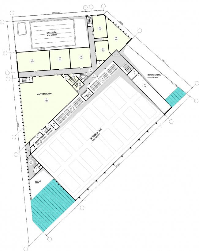 "Fitness and health centre in ""Laikovo"" housing complex. Plan of the 2nd floor © Arhitekturium"