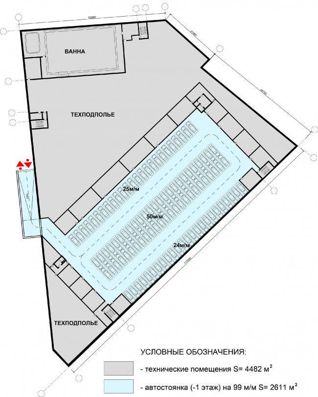 Физкультурно-оздоровительный комплекс в составе ЖК «Лайково». План подземного этажа, 1 уровень © Архитектуриум