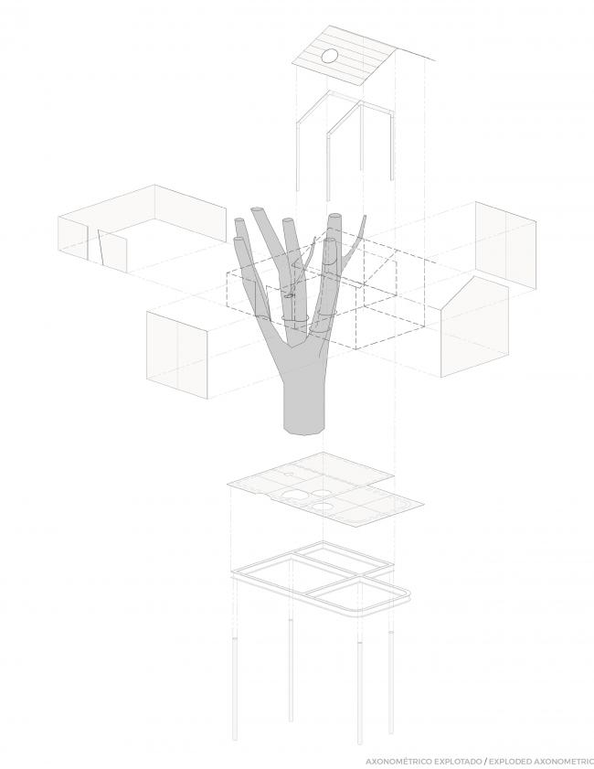 Crystal Treehouse. Аксонометрическая проекция. Изображение предоставлено бюро BROISSIN