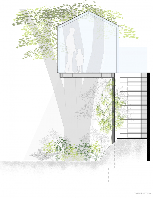 Crystal Treehouse. Разрез. Изображение предоставлено бюро BROISSIN