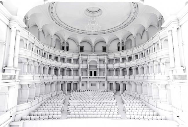 Белая визуализация главного зала © CÉH