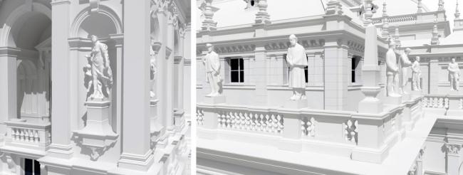 Статуи на фасадах в модели ARCHICAD © CÉH