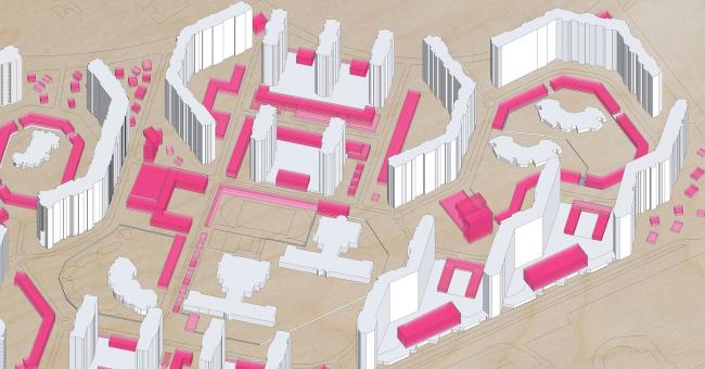 Проект уплотнения микрорайонной застройки для выставки «Идеал и норма» © MLA +