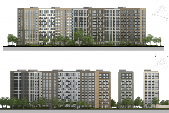 Жилой комплекс «Преображение» в деревне Мостец. Схема фасадов © АТОМ аг + А-ГА