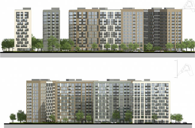 """""""Preobrazhenie"""" residential complex in the village of Mostets. Scheme of the facades © ATOM ag + A-GA"""