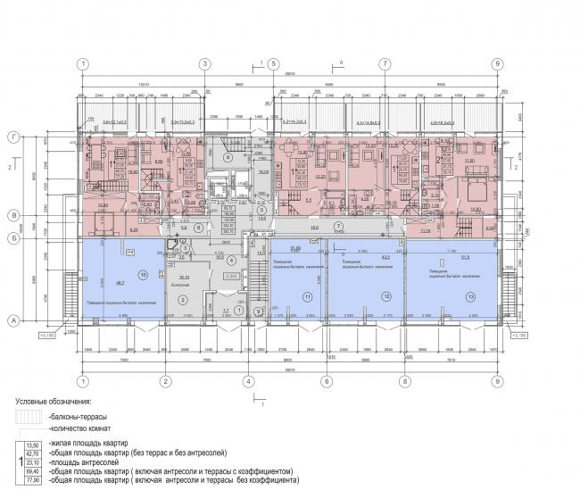Жилой комплекс «Преображение» в деревне Мостец. План 1 этажа, этап 1 © АТОМ аг + А-ГА
