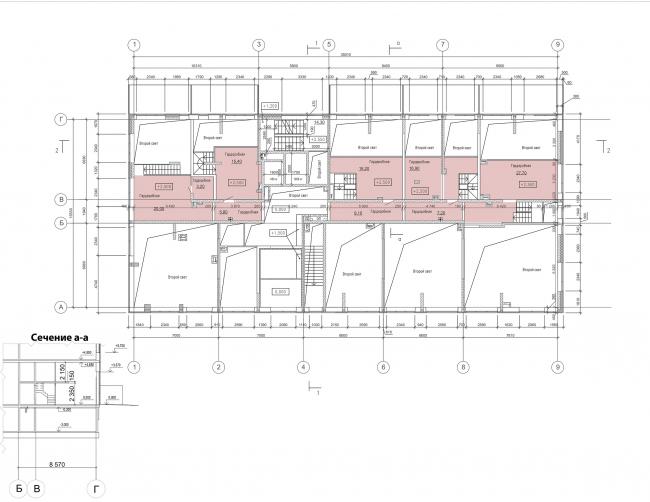 Жилой комплекс «Преображение» в деревне Мостец. План антресоли 1 этажа © АТОМ аг + А-ГА