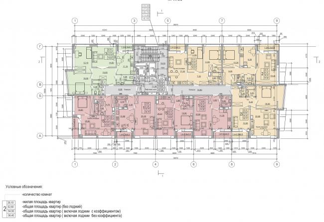 Жилой комплекс «Преображение» в деревне Мостец. План 3,5,7,9,11 этажей © АТОМ аг + А-ГА