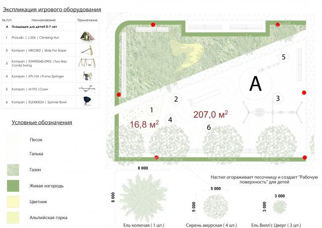 Жилой комплекс «Преображение» в деревне Мостец.  Площадка для детей 0-7 лет © АТОМ аг + А-ГА
