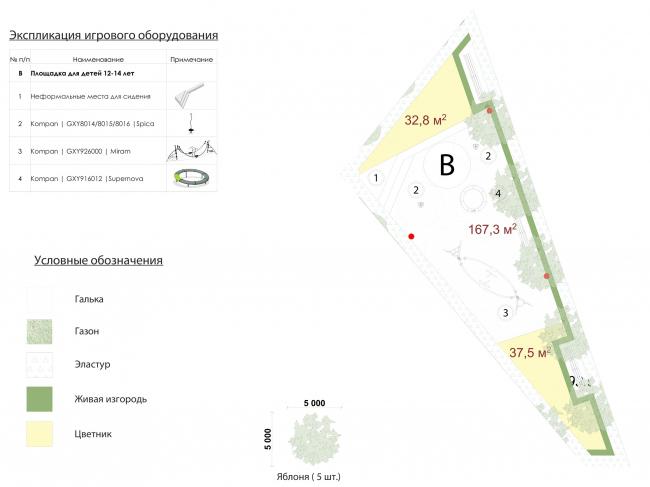 Жилой комплекс «Преображение» в деревне Мостец. Площадка для детей 12-14 лет © АТОМ аг + А-ГА