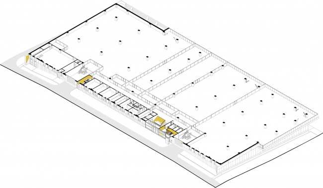 Mosfilm production studio. 3D plan of the first floor © Project bureau APEX