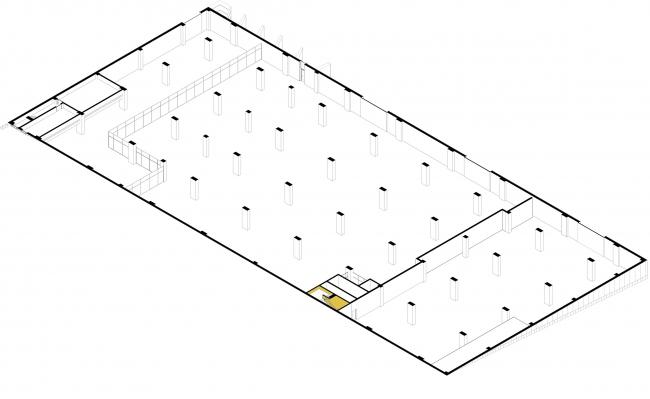 Киноконцерн  «Мосфильм». 3D план цокольного этажа © Проектное бюро АПЕКС