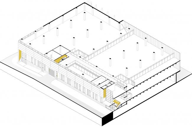 Mosfilm production studio. Cross-section view 1 © Project bureau APEX