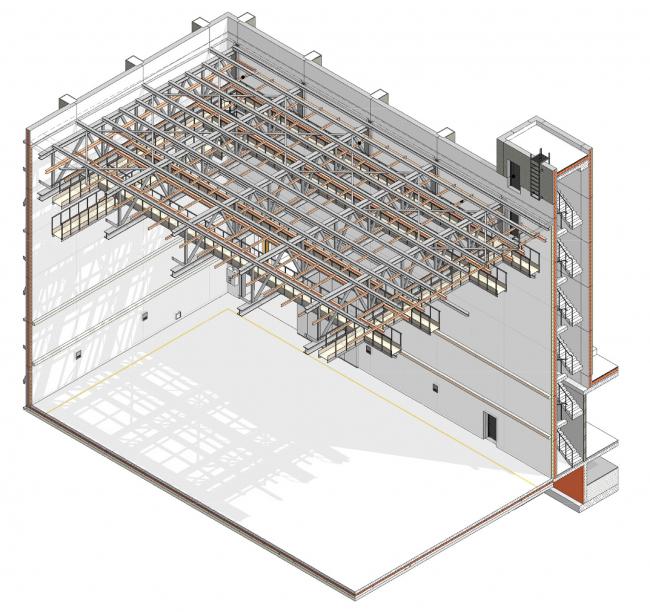 Mosfilm production studio. Cross-section view of the studio floor © Project bureau APEX