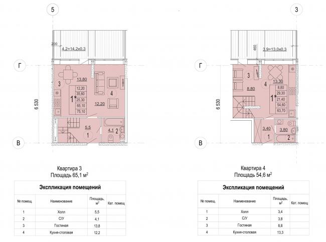 Жилой комплекс в дер. Мостец. Планировка квартир 1 этажа © Платформа + Атом