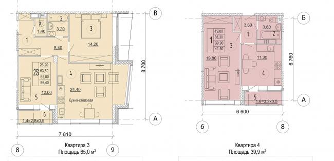 Жилой комплекс в дер. Мостец. Планировка квартир типового этажа © Платформа + Атом
