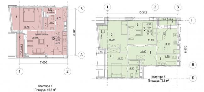 Жилой комплекс в дер. Мостец. Этап 1-3. Планировка квартир типового этажа © Платформа + Атом