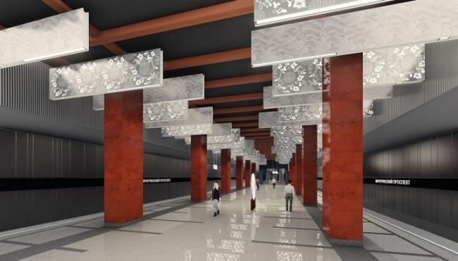 Вариант оформления платформенной части станции «Мичуринский проспект», 2018