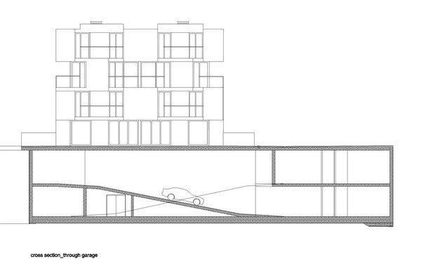 Жилой комплекс «Тетрис». Разрез с подземным гаражом © Ofis