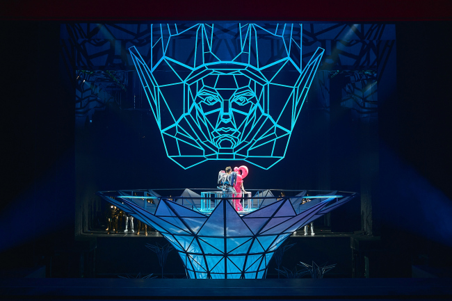 "Stage design of ""The Magic Flute"" in ""Helikon-Opera"". Production designers: Sergey Kuznetsov, Agnia Sterligova. Photograph © Sergey Krotov"