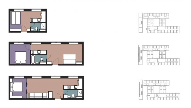The apartments in the narrow building. CO_Loft © DNK ag