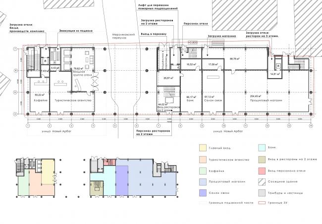 Архитектурная концепция гостиницы Ihouse. План 1 этажа