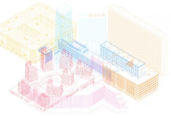 Сопоставления масштаба жилого блока будущего и распространенных типологий городской застройки.  Изображение предоставлено Шухов Лаб