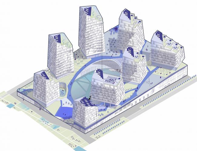 ВИзуализация жилого блока будущего. Изображение предоставлено Шухов Лаб