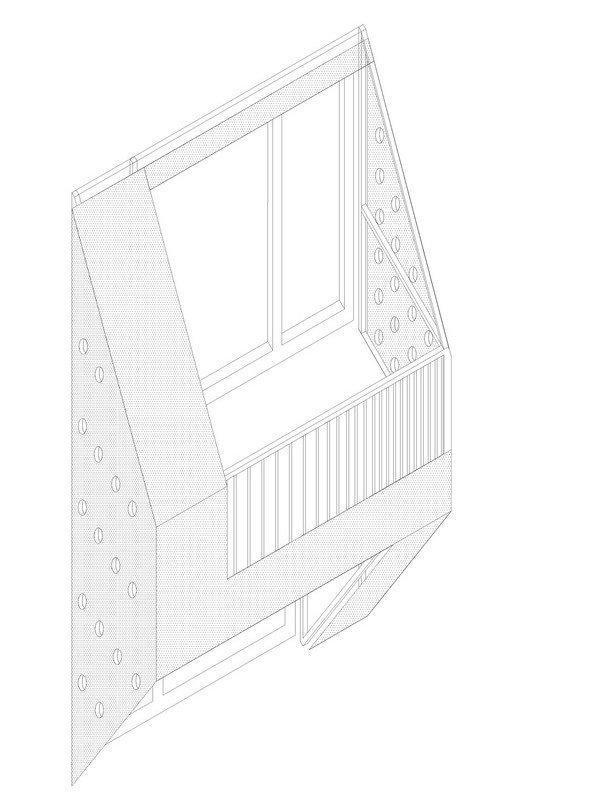 Комплекс социального жилья «Квартиры на берегу». Схема балкона © Ofis