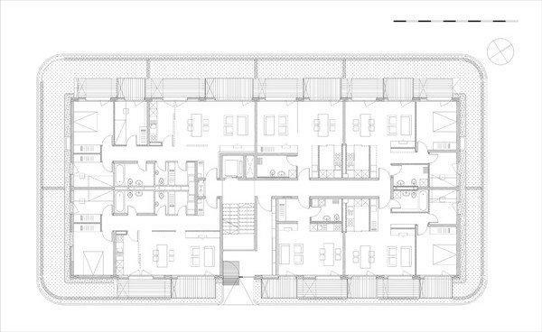Комплекс социального жилья «Квартиры на берегу». План 1-го этажа © Ofis