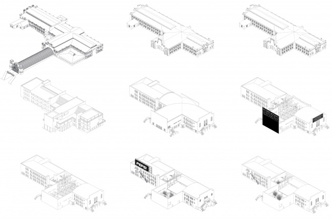 """Historical transformations of the building. The """"Garage"""" headquarters in Gorky Park © FORM"""