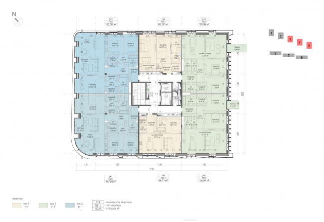 План жилого этажа дома 1 линии корпуса 3-5. Дом на улице Фонченко