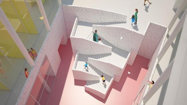 Образовательный центр для одаренных детей «Сириус». Корпус «Искусство». Интерьер атриумного пространства © Студия 44