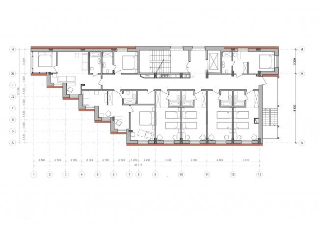 Гостевой дом по ул. Родионова. План мансардного этажа © Проектное бюро DA