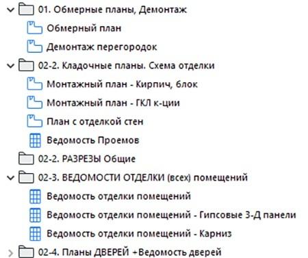 Рисунок 20 – Систематизация и заполнение папок в Карте Вида в файле-шаблоне для многоэтажного проекта