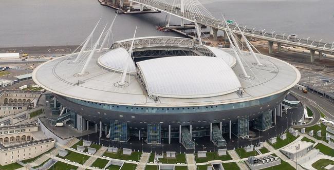 Газпром Арена. Фото: A.Savin via Wikimedia. Лицензия Free Art License 1.3