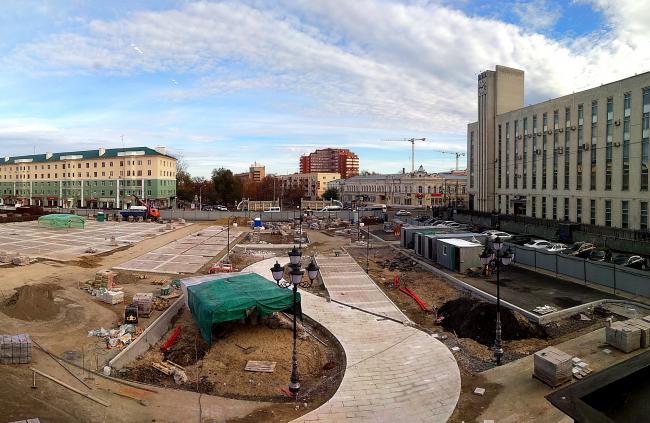 Проект благоустройства площади Ленина в Пензе. Вид на строящийся сквер