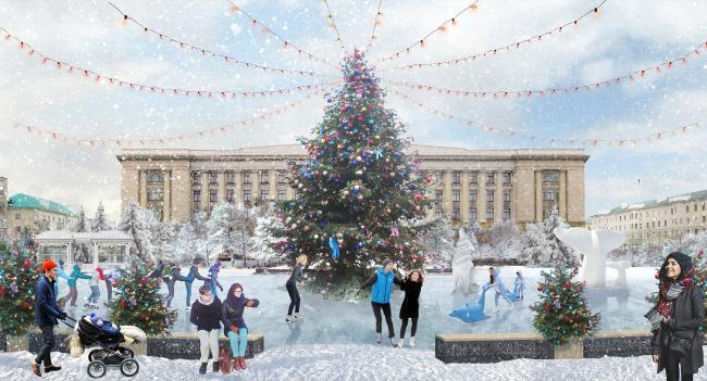 Проект благоустройства площади Ленина в Пензе. Площадь Ленина, главная елка города © АБ «ВЕЩЬ!» + КБ «Стрелка»