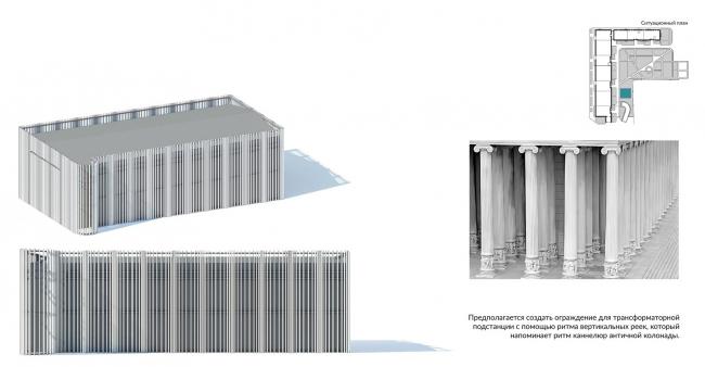 Благоустройство территории ЖК «Олимп», г. Пенза. Эскизные изображения арт-объектов: каннелюры колоннады – ограждение трансформаторной подстанции