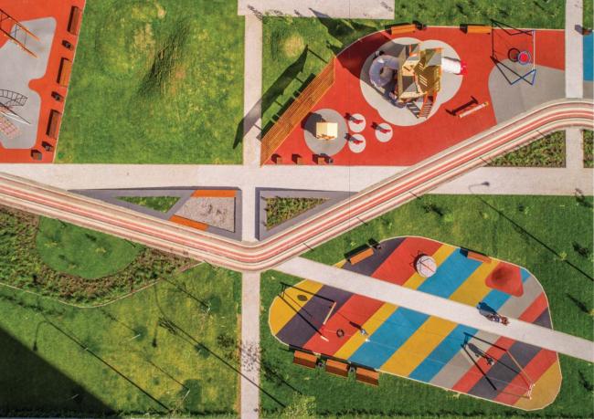 Проект благоустройства дворового пространства ЖК «Фаворит», Пенза. Детская площадка, вид сверху. Фотография © Захар Завьялов