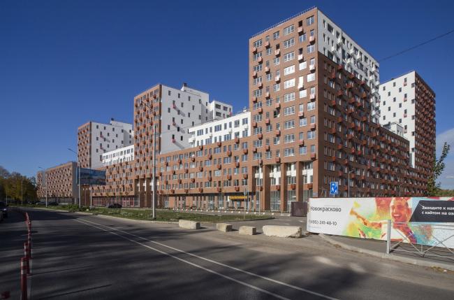 Novokraskovo housing complex. Overview from the Egoryevskoe Highway, Moscow-bound